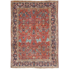 Antique Tabriz Rug with All Over Design in Rust Red, Navy Blue, Gold and L. Blue