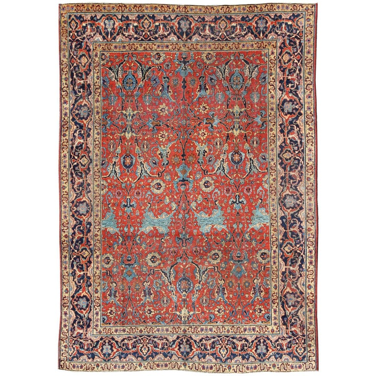 Antique tabriz rug with all over design in rust red navy for Red and navy rug