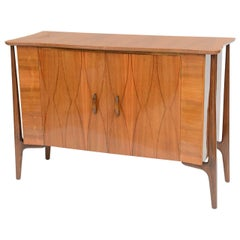 Danish Modern Inlaid Walnut Two-Door Credenza by Piet Hein