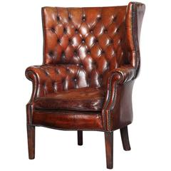 Georgian Style Leather Library Chair