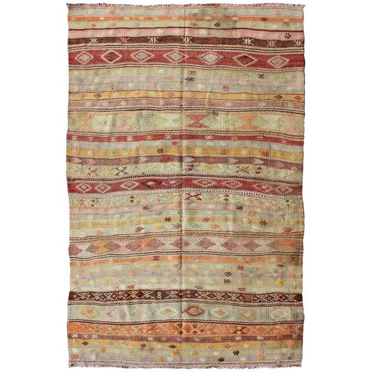 Large Vintage Turkish Flat Weave Kilim