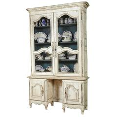 18th Century French Louis XV Painted Display Cabinet from Bordeaux