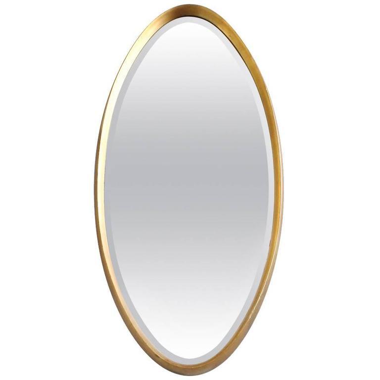 American Gilt Framed Oval Mirror, 1950s