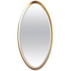 American Gilt Framed Oval Mirror, 1950s