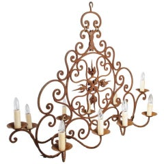 Oval Iron Chandelier with Ten Lights