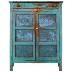 American Primitive Painted Pie Safe with Punched Tin Panels