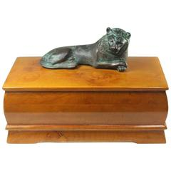 Swedish Elm Burl Box with Green Patina Lion in Repose on Top