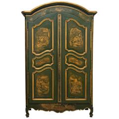 18th French Louis XV Chinoiserie Painted Armoire