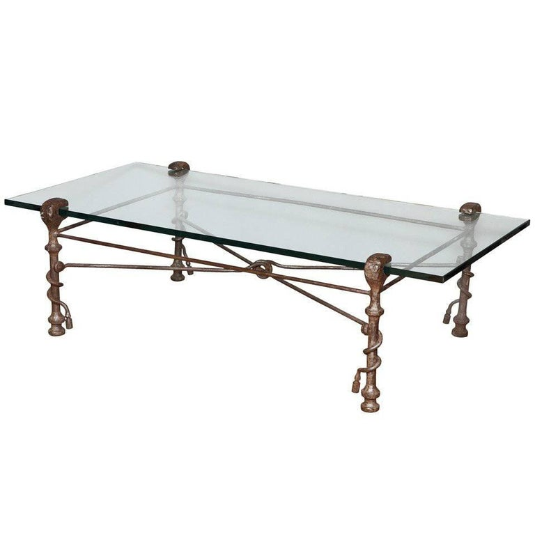 Modern Patinated Forged Iron Coffee Table in the Manner of Giacometti For Sale