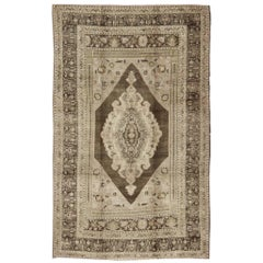 Light Brown Turkish Vintage Oushak Rug with Geometrics