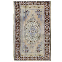 Vintage Turkish Oushak Rug in Brown, Light Purple, Blue, Camel and Wheat Colors