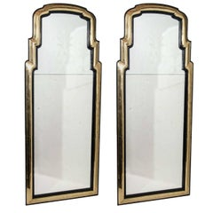 Pair of Antique French Art Deco Gilt Bronze and Ebony Mirrors