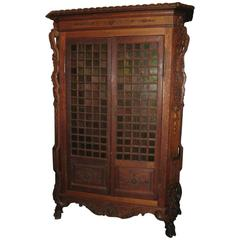 French Aesthetic Movement Carved Oak Two-Door Cabinet, 1860-1900