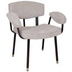 Upholstered Dining Armchair with Black Enameled Metal Frame