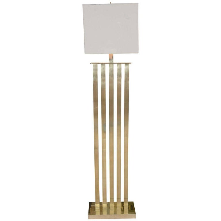 Rectilinear Standing Brass Floor Lamp For Sale