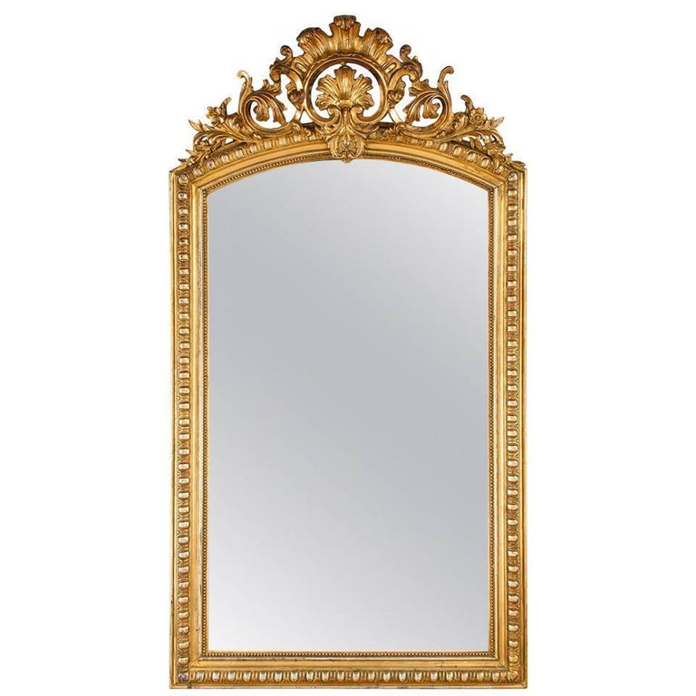 French Transition Louis XV to Louis XVI Gilded Mirror, Mid-1800s