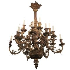 1930s Grand Scale French Bronze Chandelier with 18 Lights