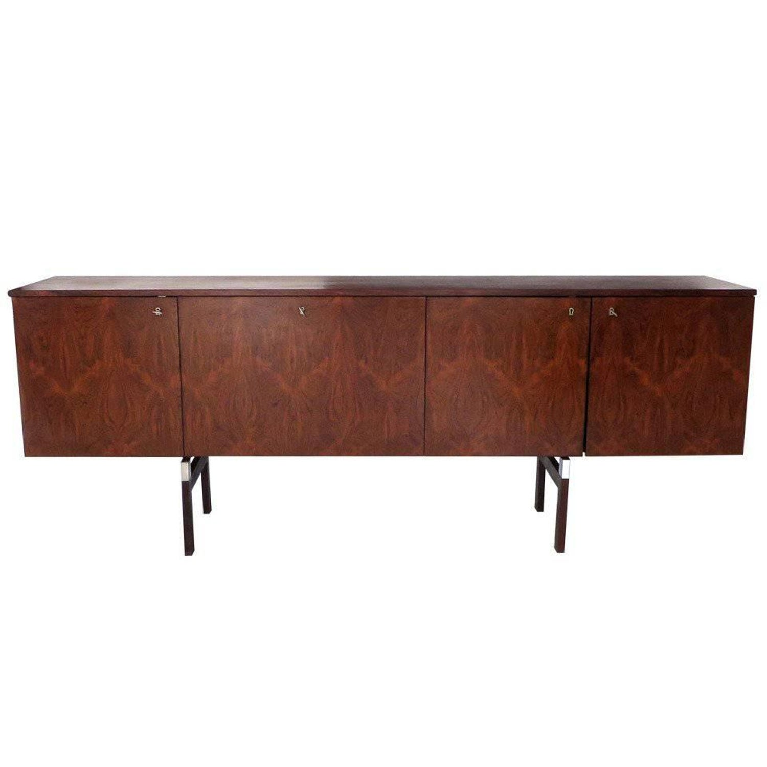 French Palissandre Buffet On Wood And Chrome Legs By Alain Richard  # Meuble Tv Norma
