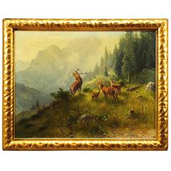 "Antique Oil Painting, ""Stag Family"" by Ludwig Skell"