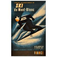Original Vintage Poster for the 1951 International Skiing Week Mont Blanc France