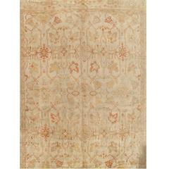 Antique Oushak Carpet, Handmade Oriental Rug, Ivory Coral, Taupe, Cream Fine Rug