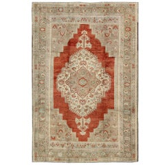 Lovely Turkish Oushak Rug in Rusty Red with Green, Warm Taupe and Cream colors