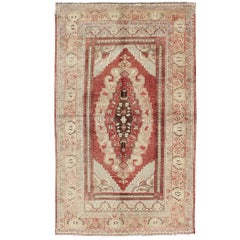 Antique Turkish Oushak Rug with Red and Neutral Colors