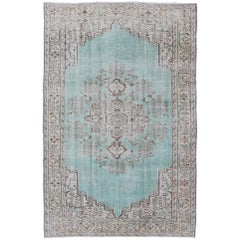 Vintage Oushak Rug with Aqua Color Background and Brown Highlights