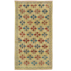 Vintage Turkish Oushak Long Rug in Yellow, Red & Blue