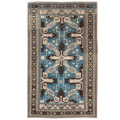 Vintage Turkish Rug with Unique Steel Blue, Medium Blue and Brown Colors