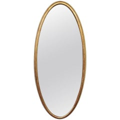 American 1950s Oval Mirror with Gilt Frame