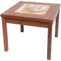 Midcentury Modern Walnut Table with an Enamel on Copper Inset by Brown Saltman