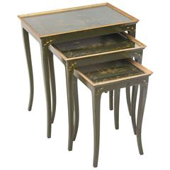 Chinoiserie Nesting Tables of Green Japanning