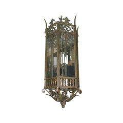 Large Neoclassic Bronze and Iron Lantern