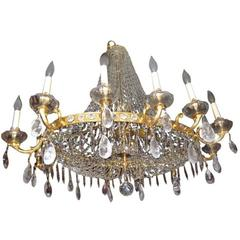 Oval Gilt Bronze and Rock Crystal Chandelier