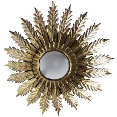 Unusual Spanish Gilt Metal Sunburst Ceiling Fixture