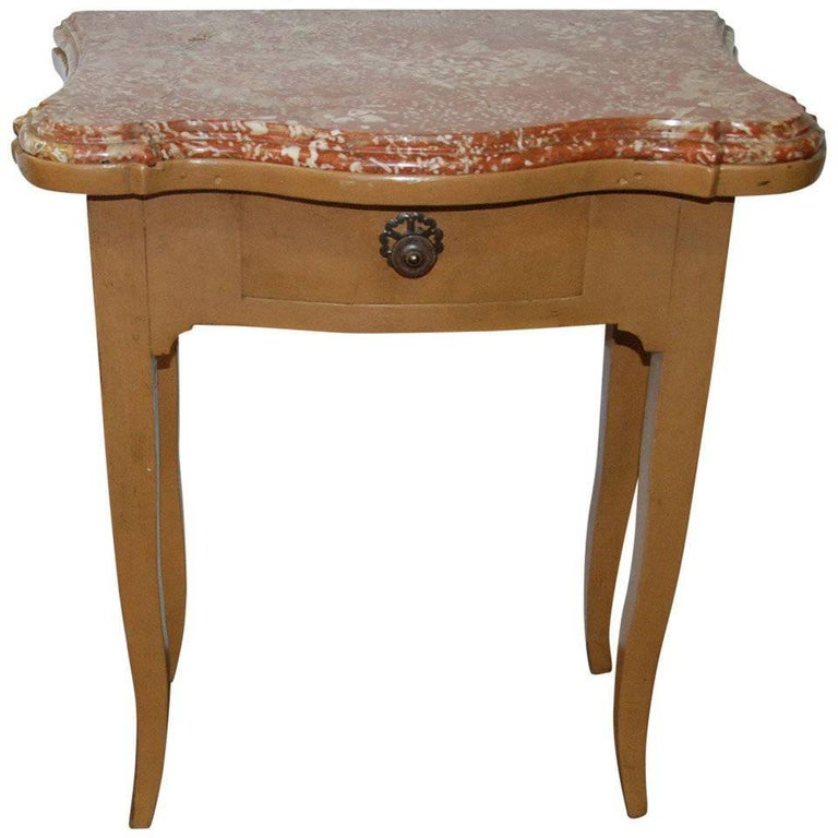 French 19th Century Marble-Top Bedside Table For Sale