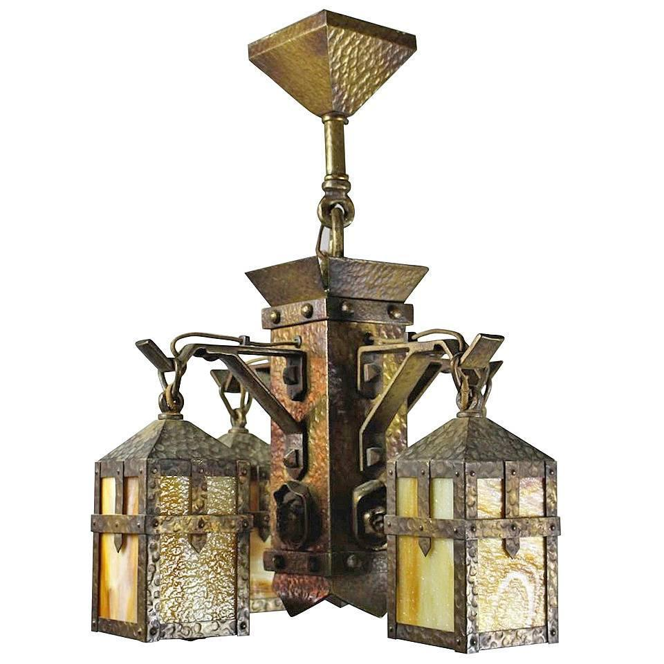 """Arts and Crafts """"Monk Face """" Four Light Chandelier at 1stdibs"""