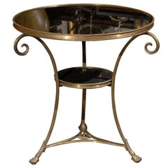 French Directoire Style Brass Guéridon Table with Stone Top from the 1950s