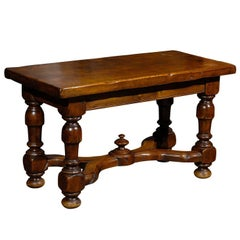 French Walnut Stool or Bench with Carved Stretcher from the Early 20th Century
