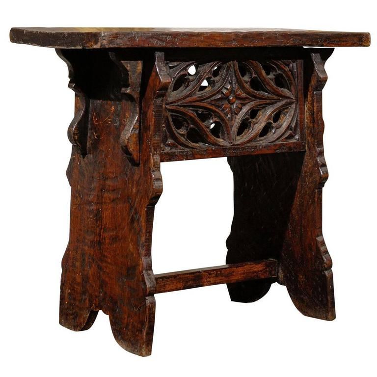 Early 20th Century Spanish Carved Wooden Bench or Stool