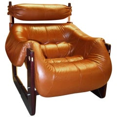 Percival Lafer Lounge Chair in Leather and Jatobah