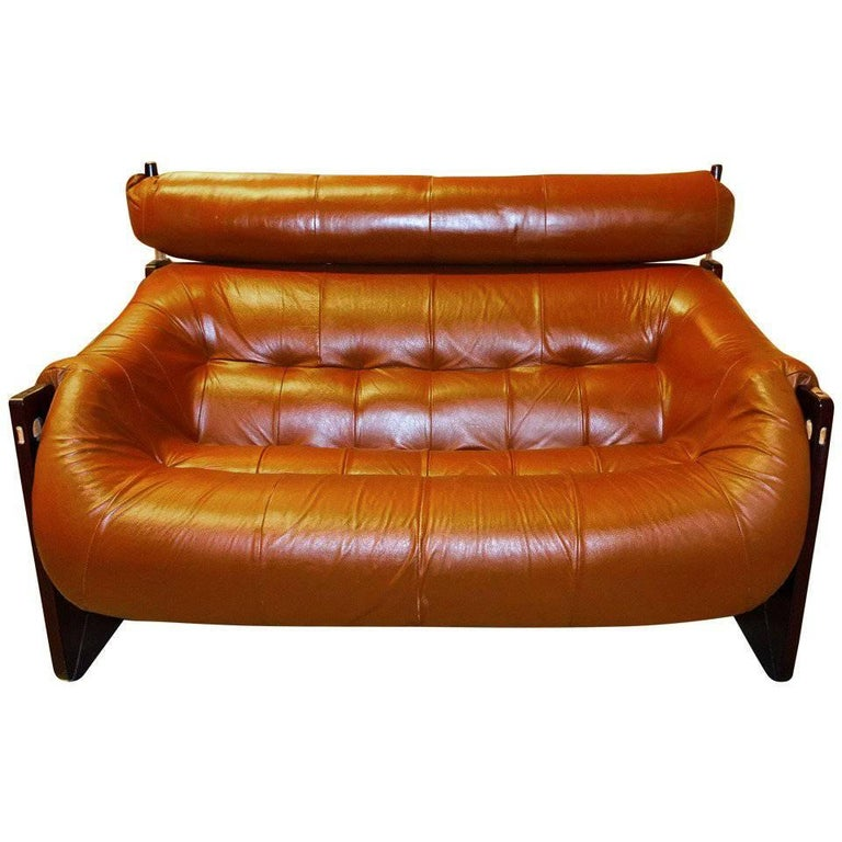 Percival Lafer Leather and Jatobah Sofa or Loveseat For Sale