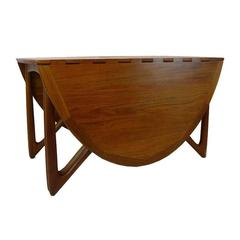 Sculptural Kurt Ostervig Teak Gate Leg Drop-Leaf Folding Dining Table