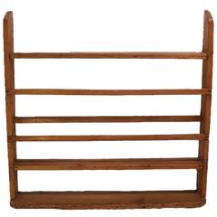 French 19th Century Wood Wall Plate Rack with Three Shelves