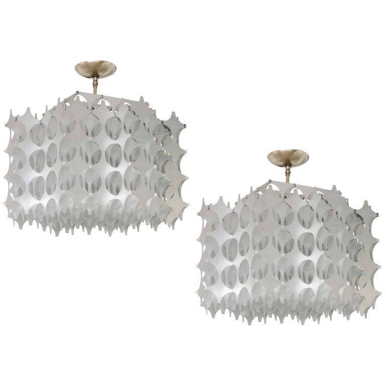 Geometric Pierced Aluminum Pendants by Mario Marenco for Artemide For Sale