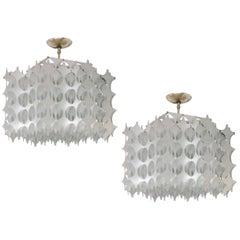 Geometric Pierced Aluminum Pendants by Mario Marenco for Artemide