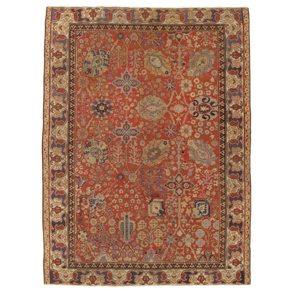 Antique Turkmenistan Khotan Rug, Handmade Oriental Rug, Coral, Ivory, Blue, Soft
