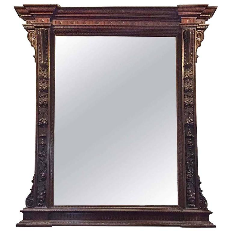 large carved french mirror with wooden frame circa 1870 at 1stdibs. Black Bedroom Furniture Sets. Home Design Ideas