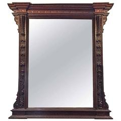 Large Carved French Mirror with Wooden Frame, circa 1870